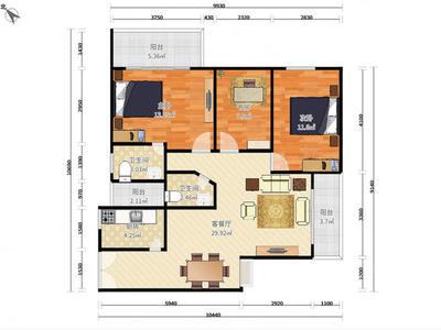 南山来福士商圈区,大三房,低租金,诚意出租